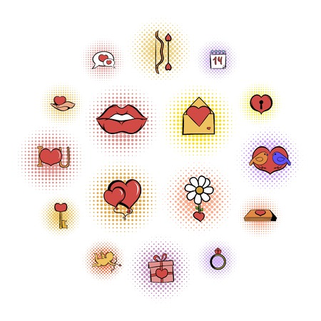 Valentines comics icons set isolated on white background