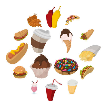 Fast food cartoon icons set isolated on white background