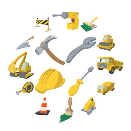 Construction cartoon icons set isolated on white background
