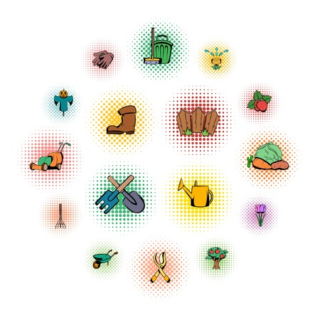 Garden comics icons set isolated on white background