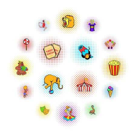 Circus comics icons set isolated on white background