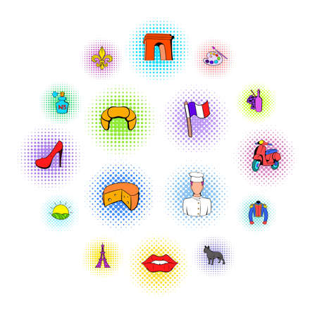 Paris set icons in comics style on a white background  イラスト・ベクター素材