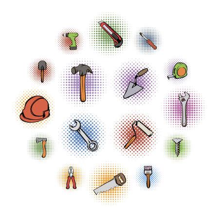 Building comics icons set isolated on white background
