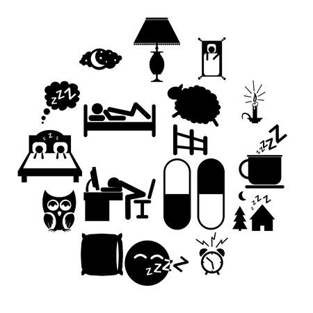 Sleeping icons set isolated on white background
