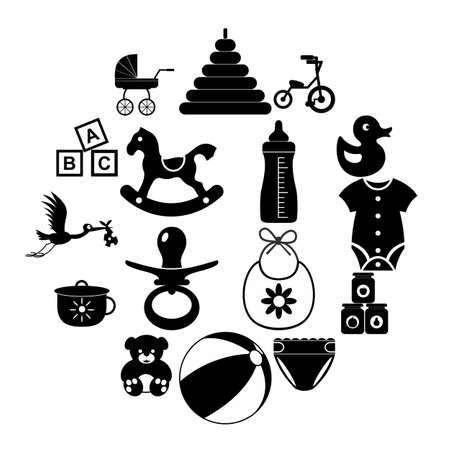 Baby simple icon set isolated on white background Illusztráció