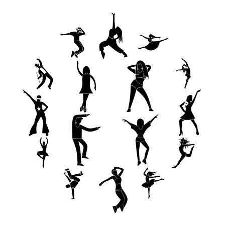 Dances simple icons set isolatedon white background Stock Illustratie