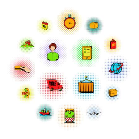 Logistics comics icons set isolated on white background