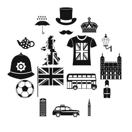 Great Britain icons set in simple style on a white background