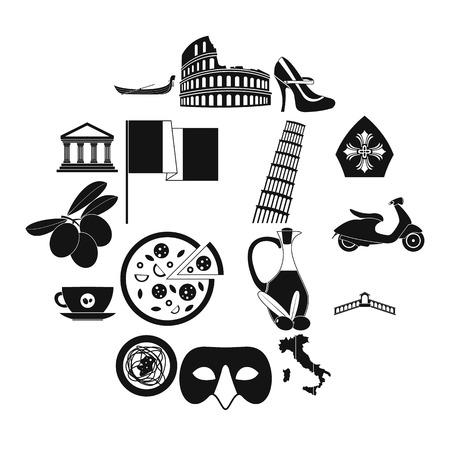 Italy black simple icons set isolated on white background