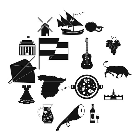 Spain icons in black simple style for web and mobile devices