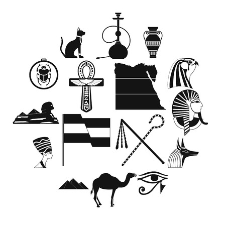 Egypt icons in black simple style for web and mobile devices