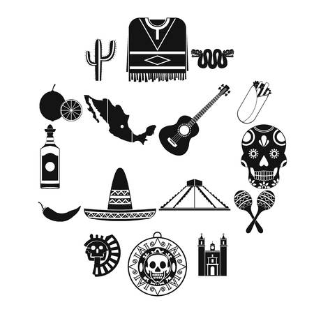Mexico icons in black simple style for web and mobile devices