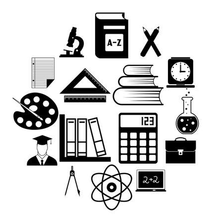 Education simple icons set for web and mobile devices