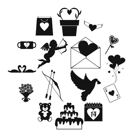 Valentines simple icons set for web and mobile devices Illustration