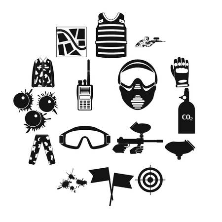 Paintball game simple icons set for web and mobile devices Ilustração Vetorial
