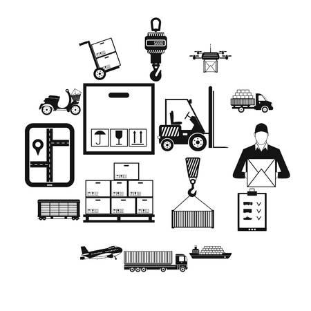 Logistics simple icons set isolated on white background