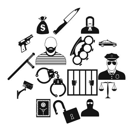 Crime simple icons set for web and mobile devices