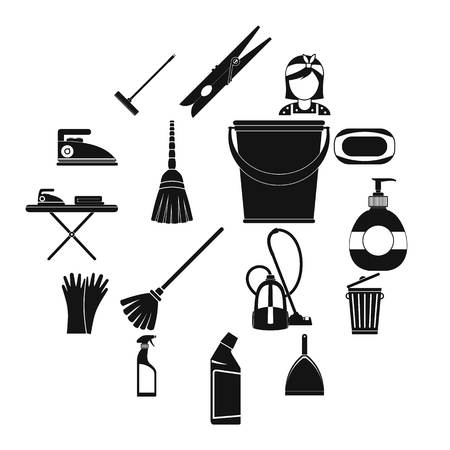 Cleaning simple icons isolated on white background