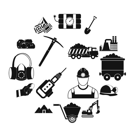 Mining icons simple set with miner hammer truck bulldozer Illusztráció