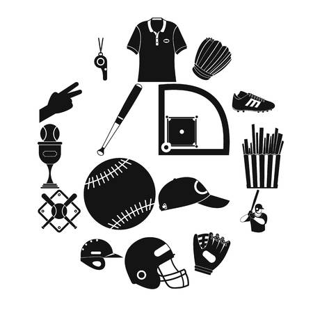 American football black simple icons for web and mobile devices Illustration
