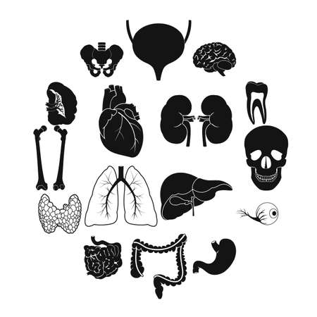 Internal organs black simple icons set for web and mobile devices