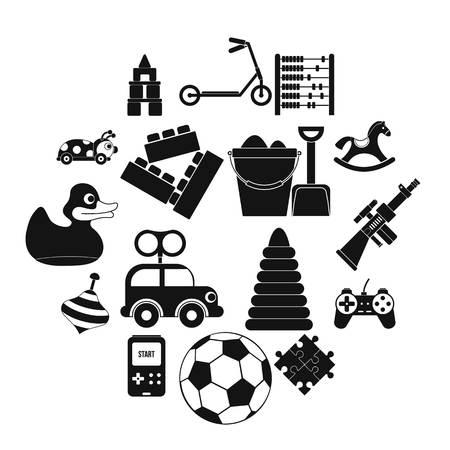 Toys black simple icons set isolated on white background