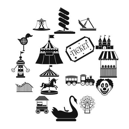 Amusement park black simple icons set isolated on white background