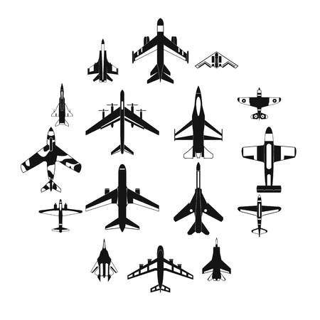 Aviation set icons in simple style for any design