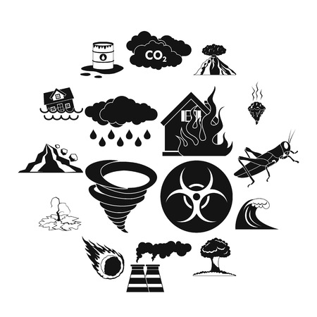 Natural disaster icons set in black simple style for any design