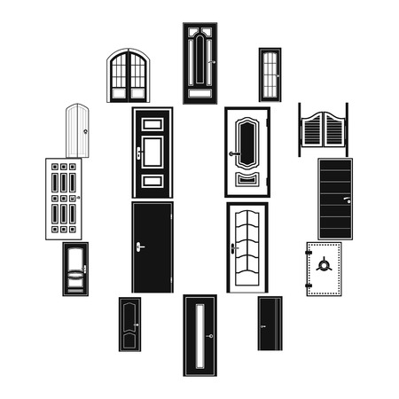 Doors icons set in simple style for any design Illustration