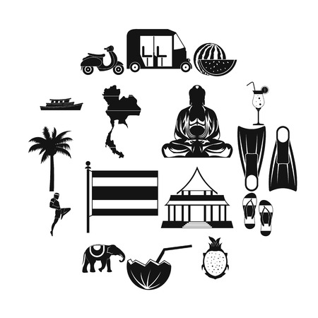 Thailand icons set in simple style for any design