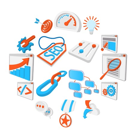 Seo 16 cartoon icons set. Blue and orange symbols on a white background Vectores
