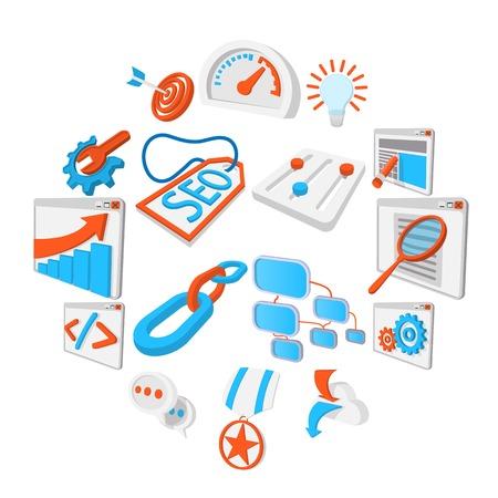 Seo 16 cartoon icons set. Blue and orange symbols on a white background Illustration