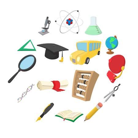 Education cartoon icons set isolated on white background Vecteurs