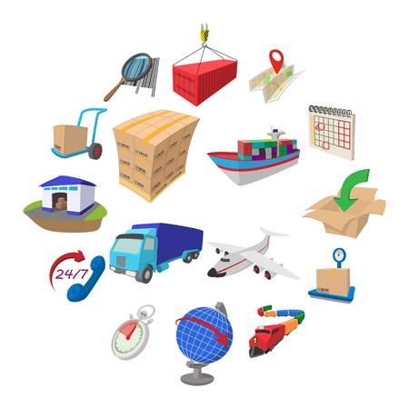 Logistics cartoon icons set isolated on white background