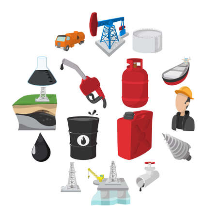 Oil industry cartoon icons set isolated on white background Vector Illustration