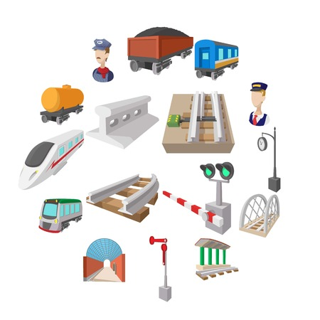 Railroad cartoon icons set isolated on white background Illustration