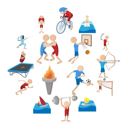 Summer sport cartoon icons set isolated on white background Banque d'images - 127710373