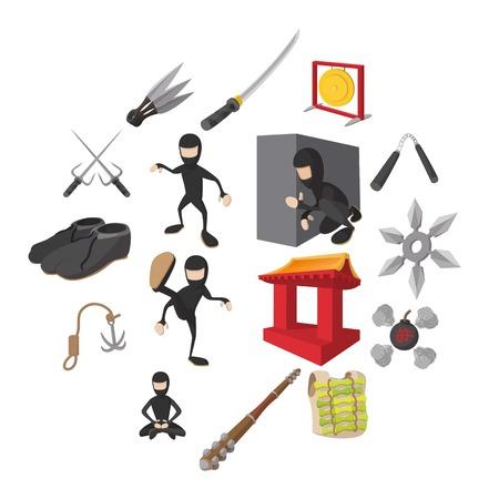 Ninja cartoon icons set isolated on white background  イラスト・ベクター素材