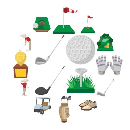 Golf cartoon icons set isolated on white background Vecteurs