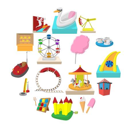 Amusement park cartoon icons set isolated on white background