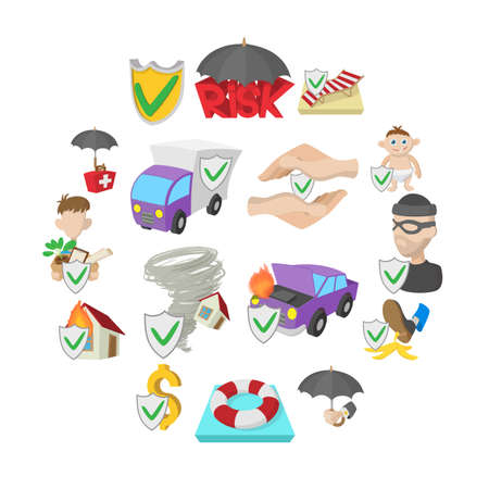 Insurance icons set in cartoon style isolated on white