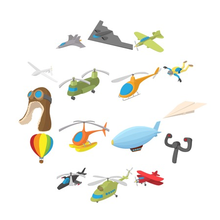 Aviation Icon Set in cartoon style isolated on white background