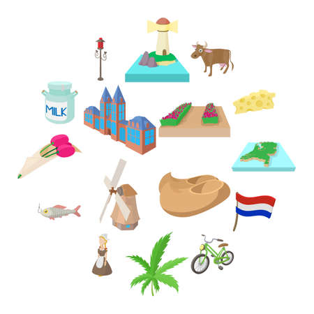 Netherlands icons set in cartoon style on a white background