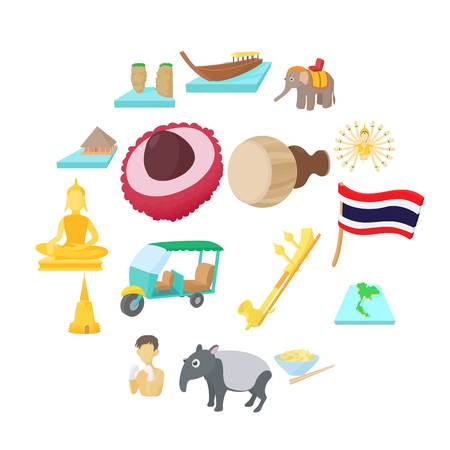 Thailand icons set in cartoon style on a white background