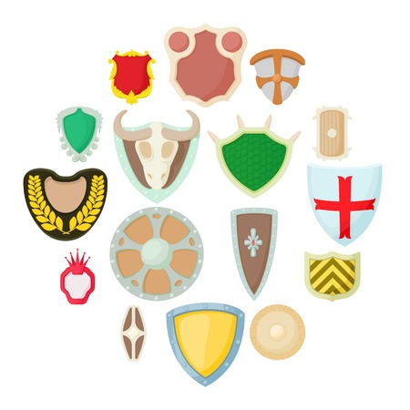 Shield icons set in cartoon style isolated on white