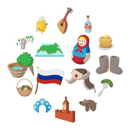 Conjunto de iconos de dibujos animados de Rusia aislado sobre fondo blanco