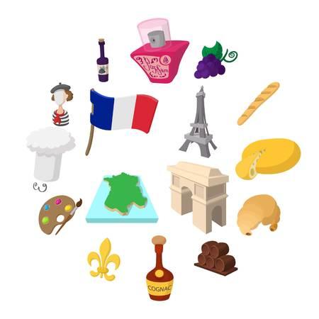 France cartoon icons set for web and mobile devices Illusztráció
