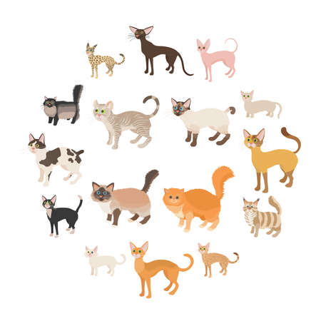Cat icons set in cartoon style on a white background Ilustração