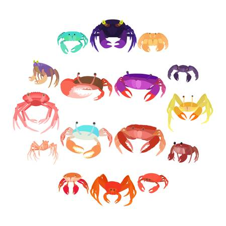 Crab icons set in cartoon style isolated on white background